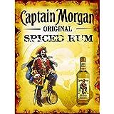 Plaque murale métallique Captain Morgan Original Spiced Rum - Style rétro - Pour bar, pub