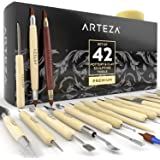 ARTEZA® Ensemble Outils pour Modelage Poterie et Sculpture à l'Argile, Professionnel comme Novice, Manche Bois, Robuste Embout Acier INOX, Boite Cartonnée (Kit de 42)