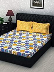 Story at Home 186 TC 100 % Cotton Flat Double Bedsheet with 2 Pillow Cover, Yellow, 235cm X 270cm