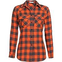 UNibelle Kariertes Hemd Damen Langer/Verstellbarer Ärmel Oberteil Karohemd Bluse Baumwolle Gingham Shirt mit Knopleiste…