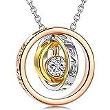 Kami Idea Collare - per Sempre - Ciondolo in Oro Rosa, Regalo per Mamma e Amore, Cristallo di Swarovski, Elegante Confezione