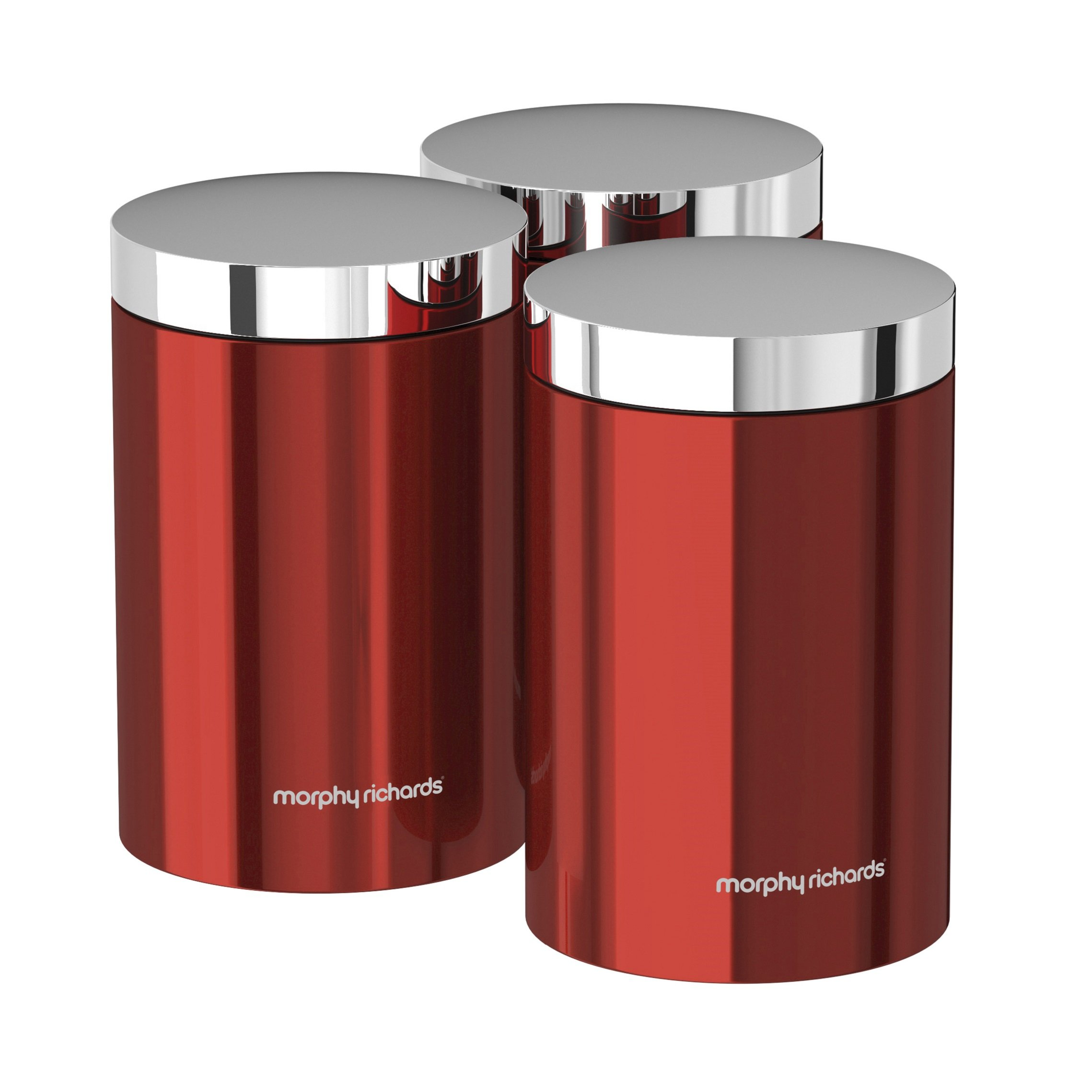 Morphy Richards Kitchen Set: Morphy Richards Set Of 3 Storage Canisters - Red 5011832051660