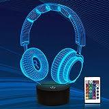 Hoofdtelefoon 3D lamp, CooPark oortelefoon Illusion Hologram nachtlampje met 16 kleuren veranderen Afstandsbediening Dimmerfu