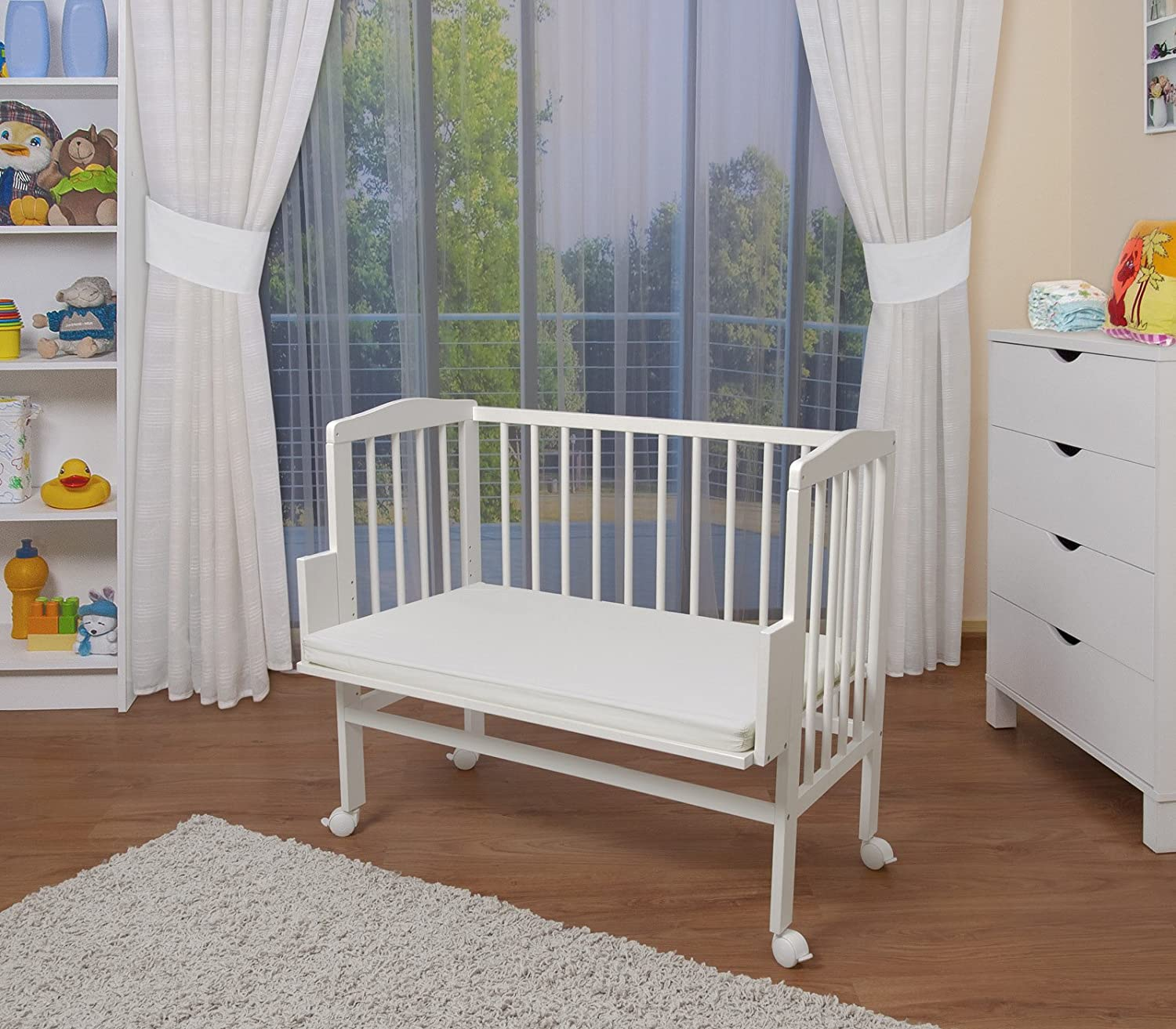 waldin baby bedside cot co sleeping height adjustable untreated