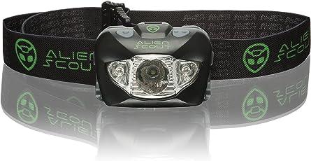 Stirnlampe von Alien Scout - High-End, Profi, Stoß- und Wetterfeste LED Kopflampe zum Laufen, Camping, Radfahren, Angeln, Gassi gehen, Lesen, Arbeiten, Handwerk oder Naturabenteuer - Einstellbar, leicht und ultrahell - Weiß/Rot/SOS-Leuchtmodi - inklusive langlebiger Duracell Batterien und Verstaubox