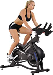 Sunny Health & Fitness Unisex Adult 7150 Asuna Minotaur Magnetic Belt Drive High Weight Capacity Commercial Indoor Cycling Bike - Black, One Size