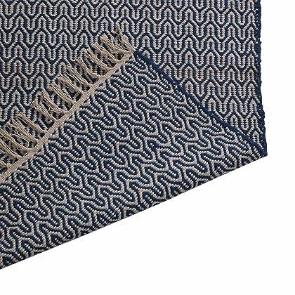 75/x 120/cm 100/% Baumwolle mit Fransen Rand The Indian Arts Fair Trade handgewebt Zig Zag Weave Baumwolle Teppich blau