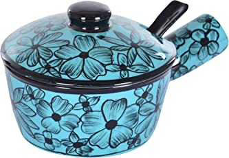 Pottery By Manjari Kanoi Ceramic Bowl with Lid and Spoon, 3-Piece, 200 ml, Service for 2, Blue