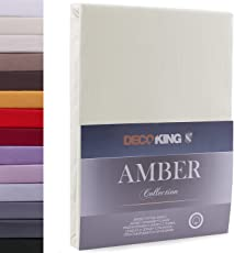 DecoKing Lenzuolo sotto con angoli elasticizzati 100% jersey in cotone, Amber Collection