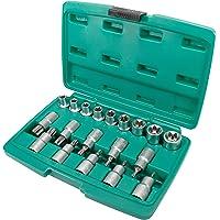 Set chiavi bussola e punte per viti Torx da 19 pezzi con attacco 1/2 pollice   WIESEMANN 80195   lega acciaio in cromo e…