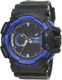 SKMEI Analog Digital Black Dial Men's Watch   AD1117  BLK  BLU