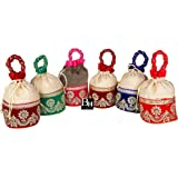 Bombay Haat Designer Jute Gift Bags/Potli Bags for Return Gifts for Menhadi, Haldi, Wedding, Sangeet (Set of 6)