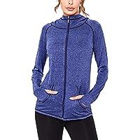Sykooria Veste de Sport Femme Zippé de Couleur Unie à Manches Longues Sweat-Shirt d'Entraînement Sportif Veste à…