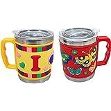 FunBlast Stainless Steel Mug Emboss Hot and Cold Coffee / Milk/ Tea Mug for Kids Cartoon Print Soft Rubber Design Cup - Multi