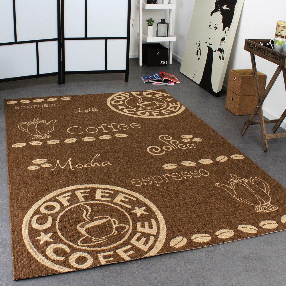 teppich modern flachgewebe sisal optik küchenteppich coffee braun