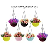 Go Hooked Multicolor Round Rattan Woven Plastic Flower Hanging Planter/Beautiful Round Gamla Pot/Flower Hanging Pot for Garden Balcony (Multicolor, Pack of 7)