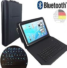 LED Qwertz Tastatur Hülle für Samsung Galaxy Tab A6 10.1 Zoll - PU Tasche mit LED Tasten - Bluetooth Kabellos - Schwarz LT1