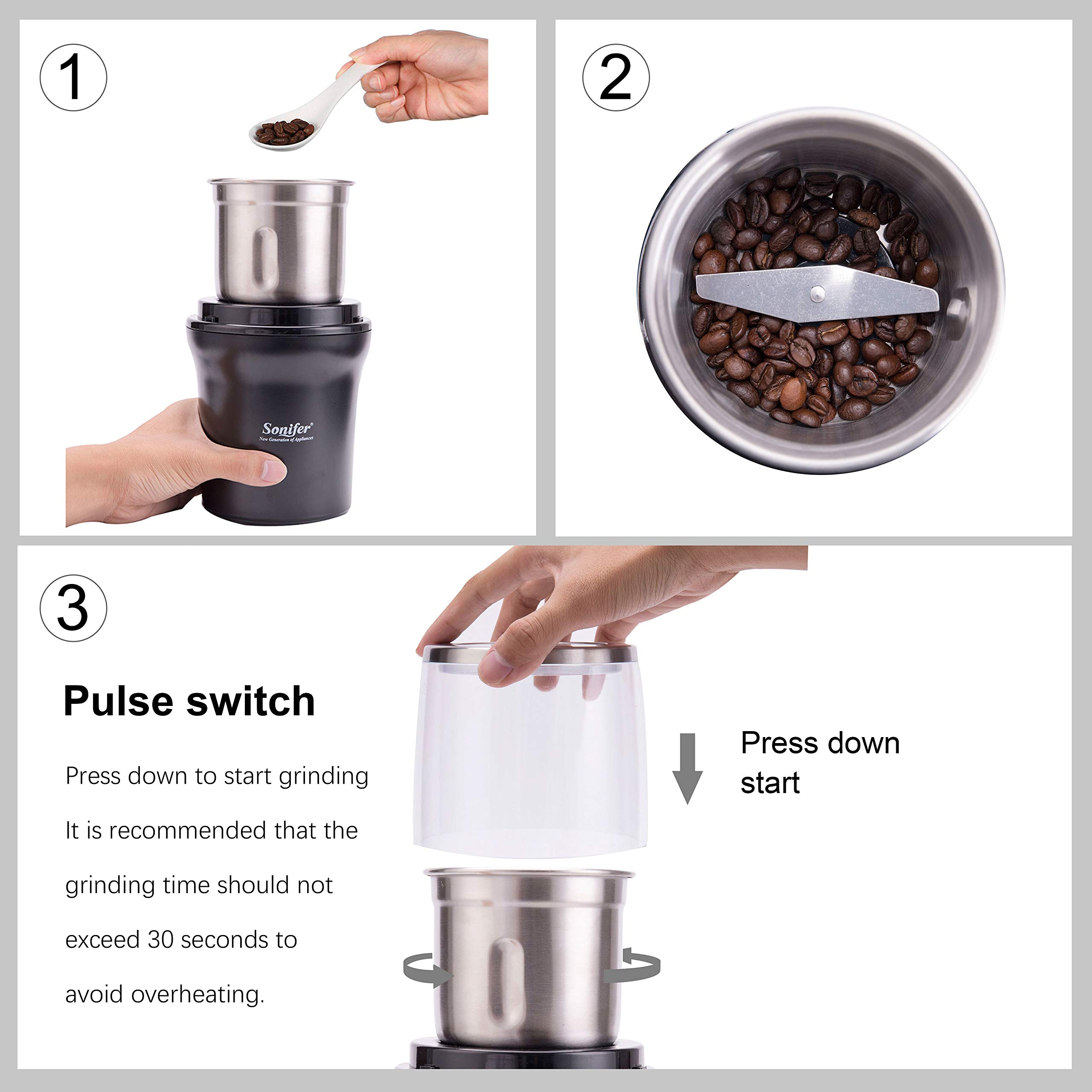 Electric-Coffee-Grinder-300W-Stainless-Steel-Blade-Large-Capacity-Grinder-Beans-Seeds-Nuts-Spices-Removable-Grinding-Bowl-Easy-to-Clean-SoniferLifetime-Warranty