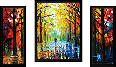 "SAF""Watercolor Modern Art"" Painting (Synthetic, 13.5 inch x 22 inch, Set of 3)"