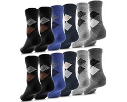 Fullluwaa Calcetines para Hombre y Mujer, 10/12 pares, Color Negro Algodón Cintura Larga Cómoda