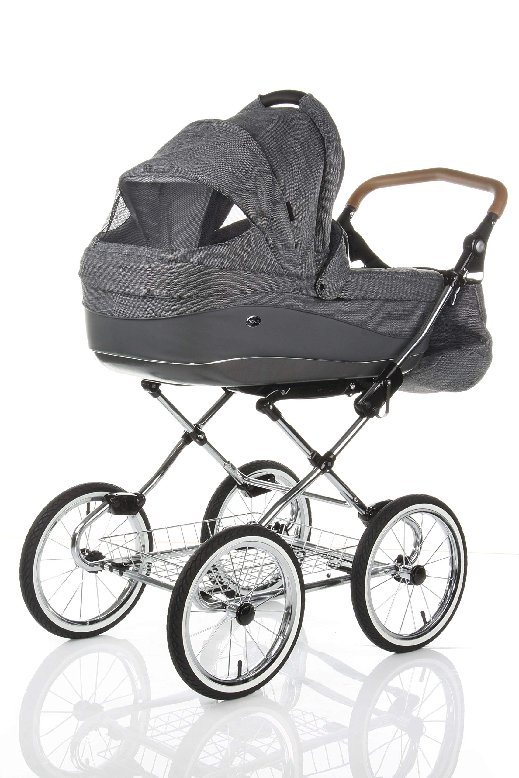 Children's Pram Buggy Stroller Combination Car seat Classic Retro Baby Carrier ROAN Emma (E-81 Dark Grey Melange-Grey Leather, 2IN1) JUNAMA Frame / wheels Sturdy and lightweight aluminum frame construction with folding function 1-click system for easy assembly and disassembly Practical carrying handle for easy storage of the folded frame Wheels for inflating (14 inch) removable wheels Brake system with central brake Height-adjustable push handle - 10-fold matching shopping basket Dimensions folded with wheels: 86 x 60 x 40 cm folded without wheels: 76 x 60 x 26 cm Total height of the stroller to hood top: 106 cm Height of the tub from the ground: 60 cm Wheelbase External dimensions: 80x 58 cm Variable height of the push handle: 77- 119 cm Weight of the frame incl. Wheels and carrying bag 15 kg Carrycot Length and width of carrycot outside: 88 x 42 cm Carrying bag length and width inside: 76 x 35 cm Sturdy plastic tub with comfortable mattress and side protection Ventilation slots on the plastic tub The baby car seat 0-13 kg Maxi-Cosi in black incl. Adapter 2
