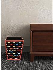 SEJ by Nisha Gupta Abstract MDF Wood Bin for Office/Bedroom, 11.5 L, Black