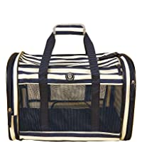 Barkbutler x Fofos Foldaway Carrier with Blue & White Stripes  Anti-scratch breathable mesh+padded base Sturdy structure…