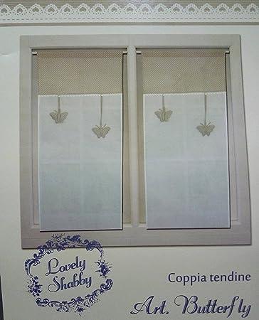 2 TENDINE A VETRO ART BUTTERFLY 60 X 150 COL GRIGIO o CORDA LOVELY ...