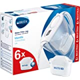 BRITA Marella Fridge water filter jug for reduction of chlorine, limescale and impuities, White, Includes 6 x MAXTRA…