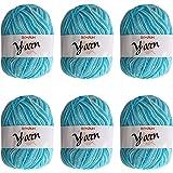Fil de laine à tricoter Pull écharp 6 x 50g Ensemble de fil à tricoter double Fil de coton et de pelote Grandes couleurs asso
