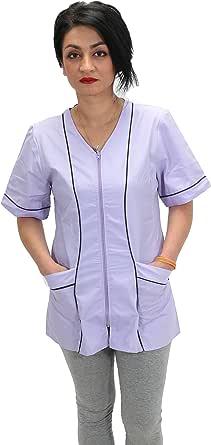 petersabitidalavoro Blouse de Travail pour Femme Manches Courtes Blanc Inserts color/és