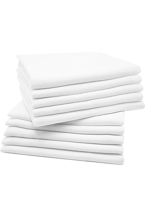 Zollner 10 muselinas para bebé, algodón 100%, 80x80 cm, blancas: Amazon.es: Bebé