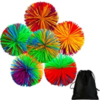 6 Pieces Colorful Monkey Stringy Balls 2.75 Inches Sensory Fidget Toy Stress Balls Rainbow Pom Ball Active Toys with Drawstring Bag
