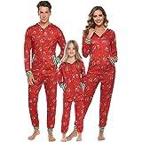 Aibrou Pijamas de Navidad Conjunto Familia Ropa de Dormir Casual Invierno Mujer Hombre Niños