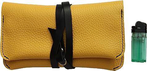 Tabak-etui schatulle aus echtem, hochwertigem, in italienischer Qualität gefertigtem Leder. Handgemacht in Firenze. Altmodisch aussehen farbe Gelb mit Schwarz