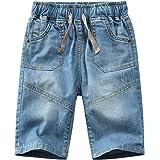 YoungSoul Pantalones Cortos para niño - Vaqueros Cortos de Mezclilla con Cintura elástica - Bermudas de Jeans Verano