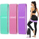 ihuan Weerstandsbanden voor benen en kont, 3 niveaus oefenband, anti-slip & roll elastische workout buit banden voor vrouwen