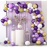 129 Pièces Ballons Guirlande Arche Kit Macaron Violet Blancs et Ballons Confettis Ballon Or Métallique Latex Balloon Arch Gar