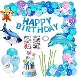 Gafild Decorazioni per Feste Creature acquatiche, Compleanno Decorazioni Decorazioni Palloncino Foil con Banner per Palloncin