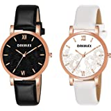 Drealex Analogue Leather Strap Girls & Women's Watch (Black & White Dial Black & White Colored Strap) (Pack of 2)