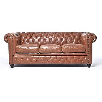 Original Chesterfield Sofa 3 Places Full Cuir Veritable Lave A