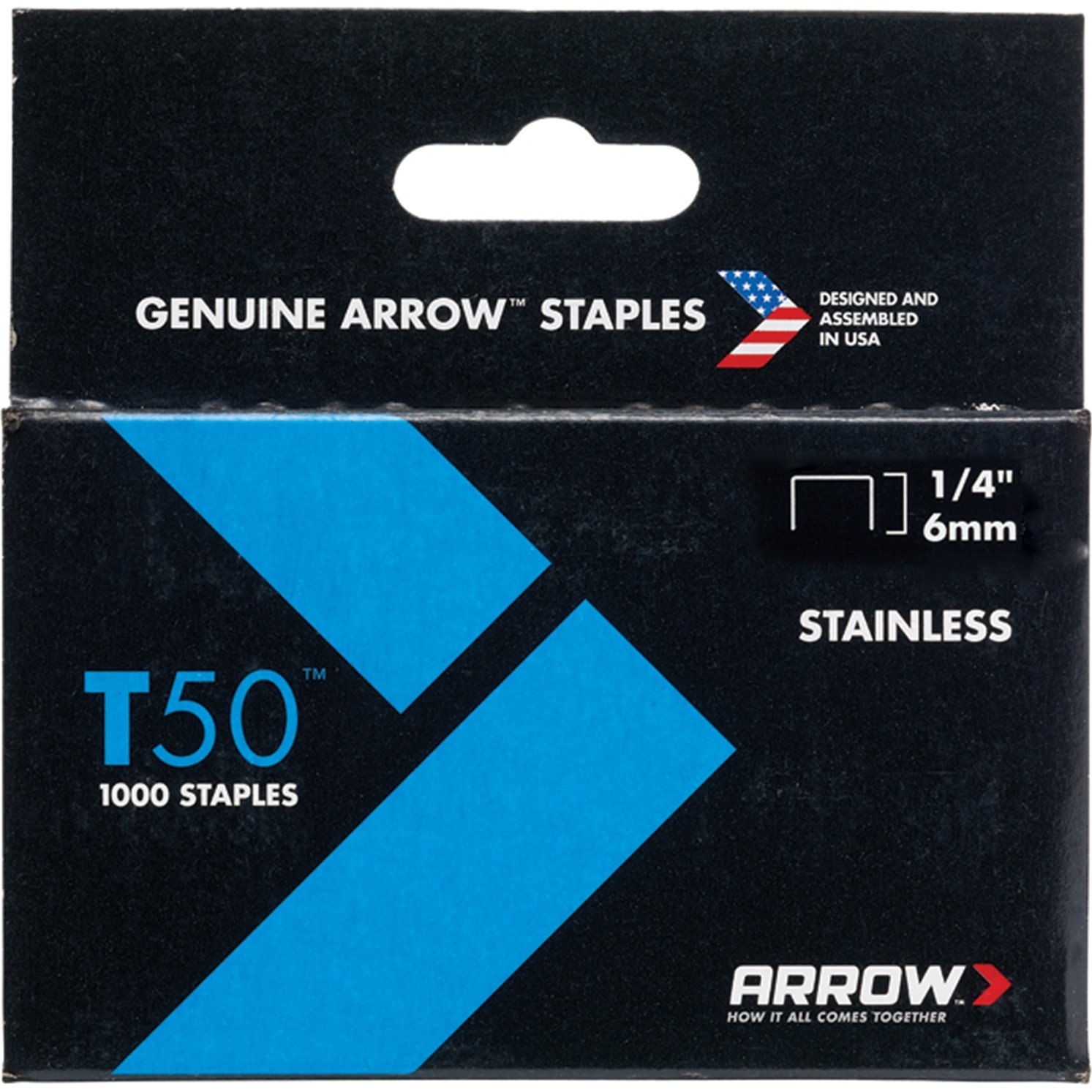 arrow t50 staples box 1000 stainless steel 3 8in
