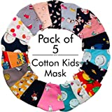 The Advitya Kids Face Mask, 2 Layer Cotton Mask, Reusable and Washable, Age 3-6 Year, Mix Colours, (PACK OF 5)