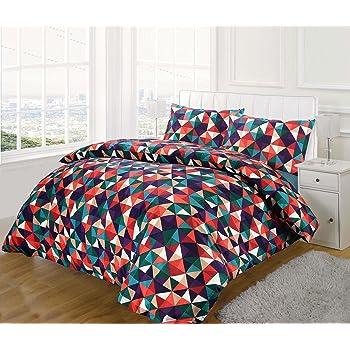 Nimsay Home multicolore Dimaond modello geometrico cotone miscela copripiumino e set cuscino, King coperchio copripiumino (230x220cm + 2 x 50x75cm)