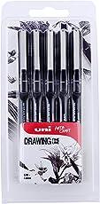 Uni Pin Fineliner-Zeichenstifte verschiedene Schreibspitzengrößen 5 Stück schwarze Tinte