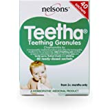 Nelsons Teetha Teething Granules With Chamomilla 6c For Babies 3 Months+, Homeopathic Remedy, 40 Sachets