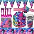 Trolls Party Supplies Vajilla para fiestas Diseño Incluye Pancartas, Platos,Tazas, Servilletas, Pajay, Manteles y Tenedores D