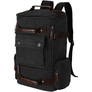 ae1a6ff5fb Kaukko Canvas Leather Backpacks Vintage Rucksacks Multi Pockets Bags ...