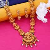 NM Creation Yellow Gold Plated Temple Long Jewellery Set for Women's
