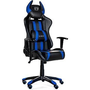mc racing 7 gamingstuhl b rostuhl schreibtischstuhl inklusiv kissen schwarz blau 69 x 125. Black Bedroom Furniture Sets. Home Design Ideas